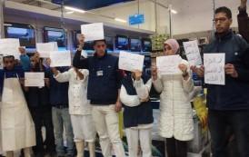وقفة احتجاجية للكتابة الإقليمية بقلعة السراغنة نصرة  للمكتب النقابي مرجان
