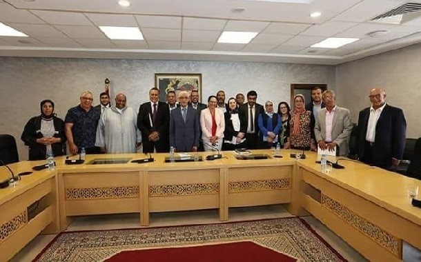أعضاء من المكتب التنفيذي لجامعة الشبيبة والرياضة في لقاء مع السيد الوزير والسيدة الكاتبة العامة للوزارة